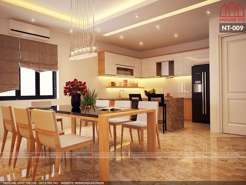 thiết kế nội thất phòng ăn hiện đại đẹp cho nhà ống