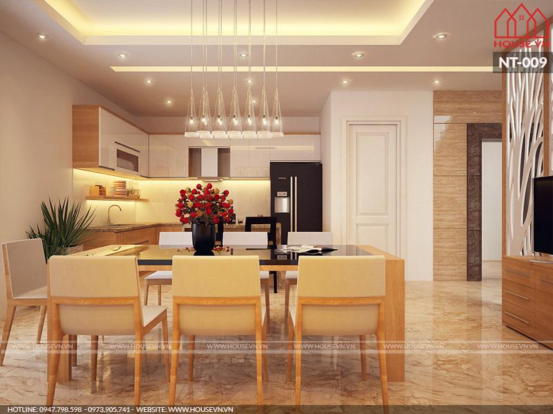thiết kế nội thất phòng bếp ăn hiện đại cho nhà ống