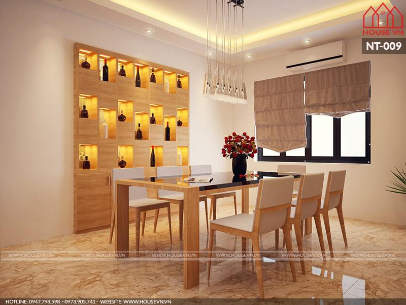 thiết kế nội thất phòng ăn bằng gỗ đẹp, sang trọng cho nhà ống