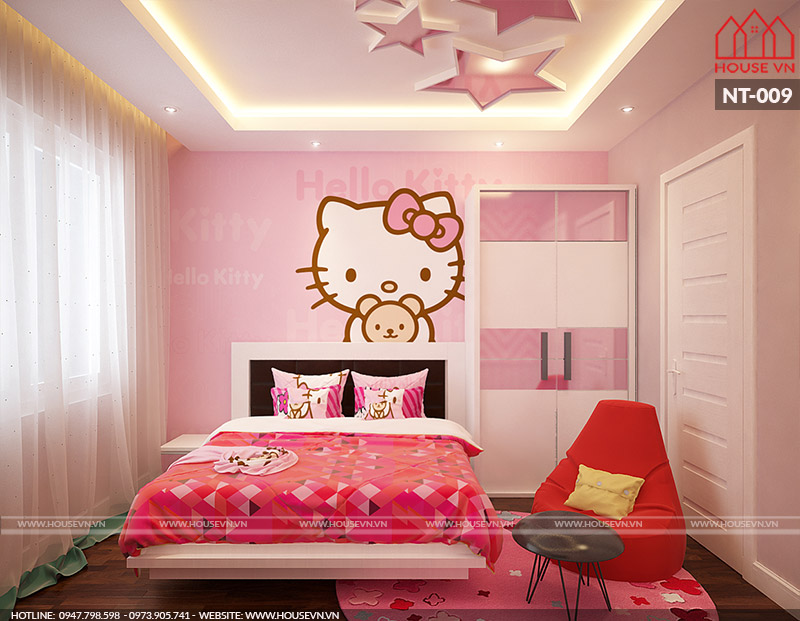 nội thất phòng ngủ con gái nhà phố đẹp tại Hải Phòng