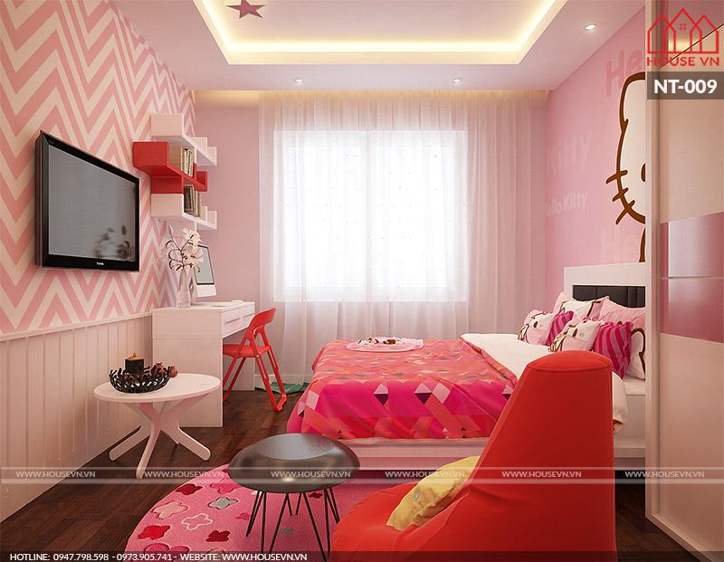 thiết kế nội thất phòng ngủ hiện đại cho con gái