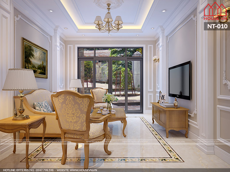 thiết kế phòng khách đẹp đơn giản với phong cách pháp