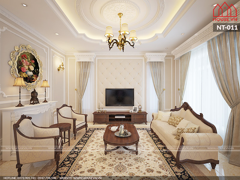 Mẫu nội thất phòng khách cổ điểnsang trọng của biệt thự tại Nam Định