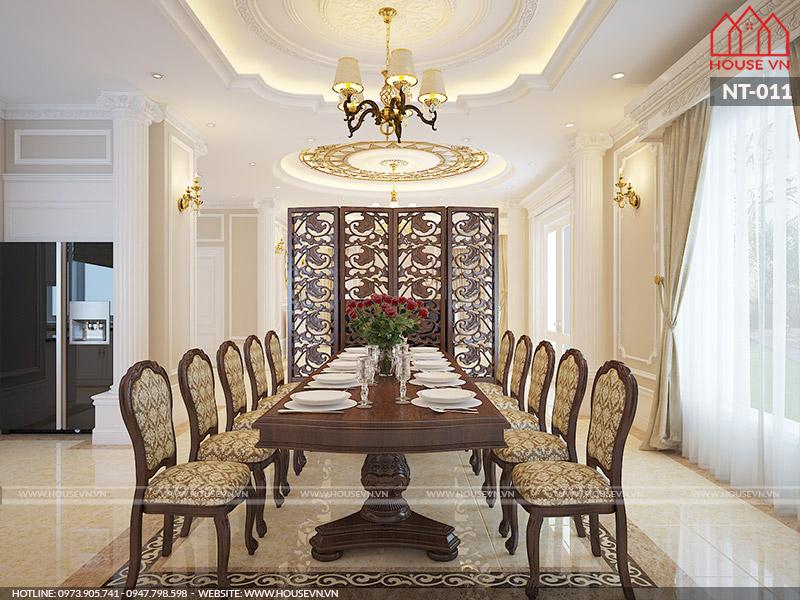 thiết kế nội thất phòng ăn cổ điển sang trọng