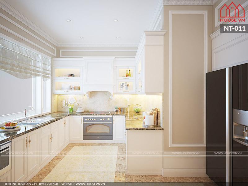 mẫu phòng bếp kiểu cổ điển dành cho biệt thự