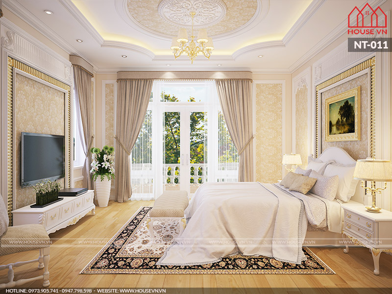 thiết kế nội thất phòng ngủ biệt thự kiểu pháp đẹp
