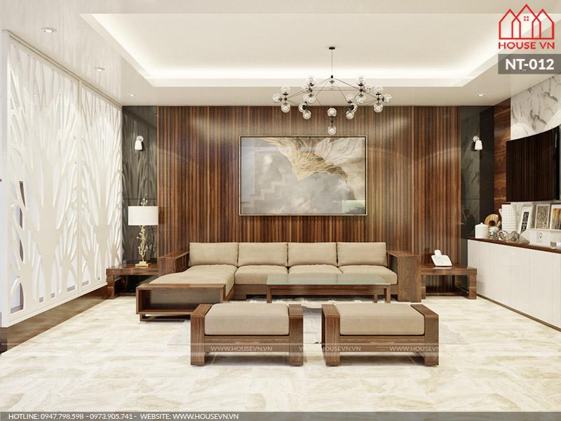thiết kế phòng khách hiện đại cho nhà ống 4 tầng