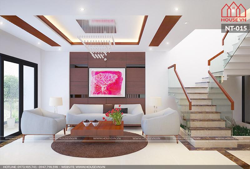 thiết kế phòng khách hiện đại đẹp cho nhà ống tại Hà Nội