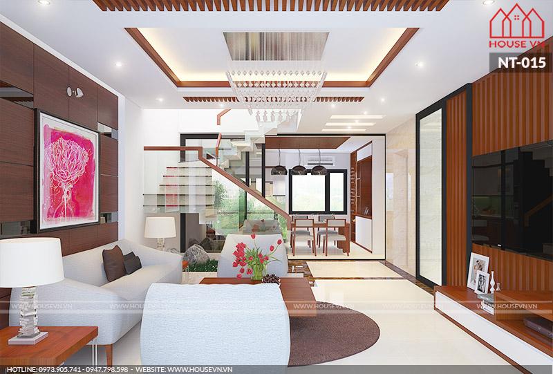 mẫu phòng khách đẹp diện tích 18m2 khang trang của Housevn