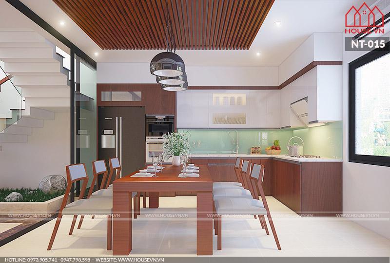 các mẫu phòng ăn bằng gỗ kiểu dáng đơn giản