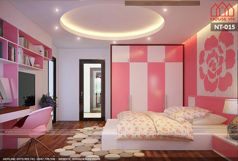 thiết kế nội thất phòng ngủ con gái đẹp