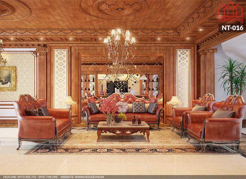 thiết kế nội thất phòng khách cổ điển cho biệt thự đẹp