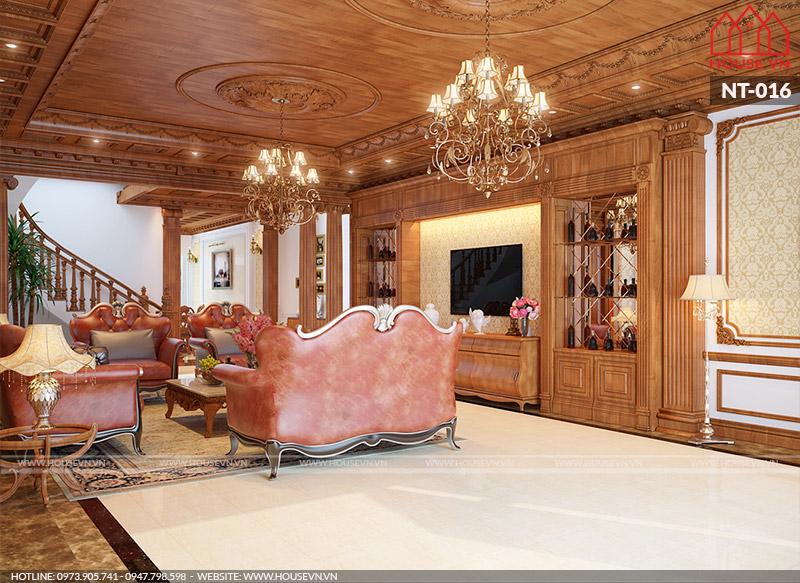 nội thất phòng khách biệt thự chất liệu gỗ cao cấp