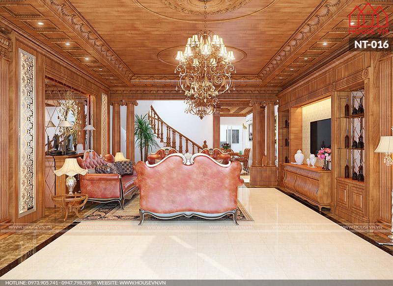 không gian nội thất phòng khách biệt thự cổ điển