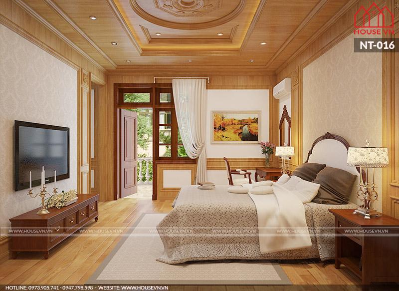 thiết kế phòng ngủ bằng gỗ đẹp kiểu dáng tân cổ điển