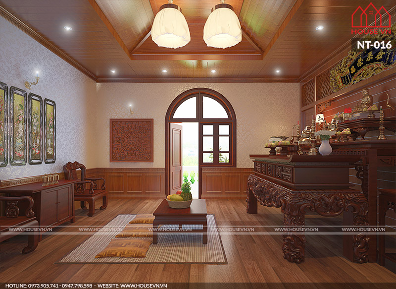 thiết kế phòng thờ hợp phong thủy đẹp, đơn giản