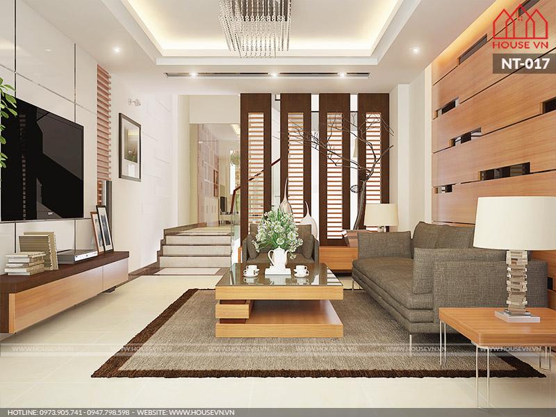phòng khách thông với bếp và phòng ăn hiện đại