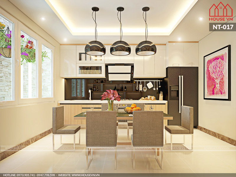 thiết kế nội thất phòng ăn và bếp đẹp dành cho biệt thự năm 2018