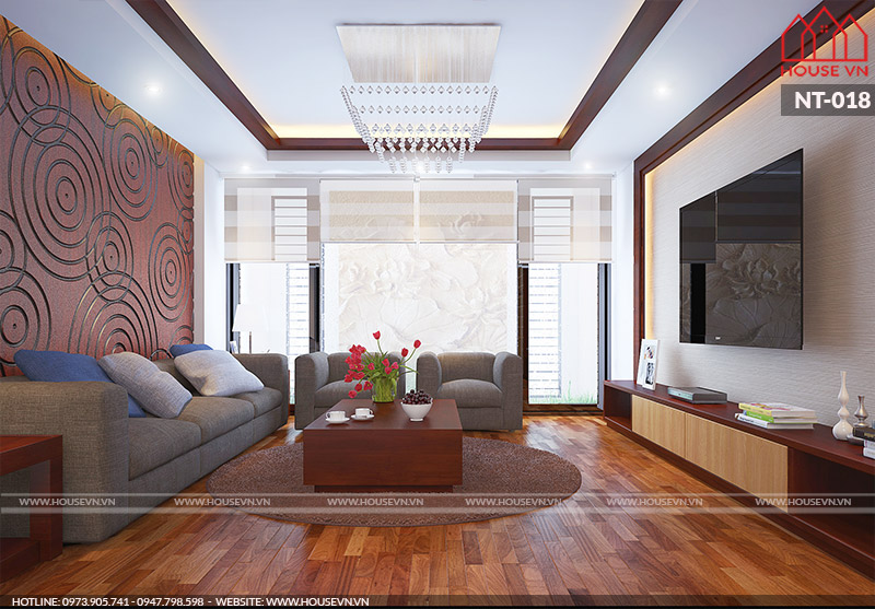 thiết kế phòng khách đẹp diện tích 18m2 khoa học