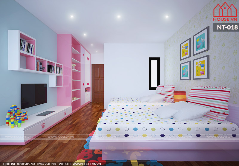thiết kế nội thất phòng ngủ cho con gái đẹp nhất