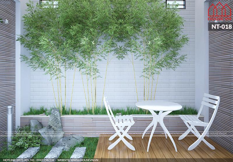 hệ thống sân vườn của nhà ống đẹp và khang trang