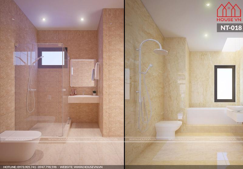 mẫu phòng tắm vệ sinh hiện đại của nhà ống tại Quảng Ninh
