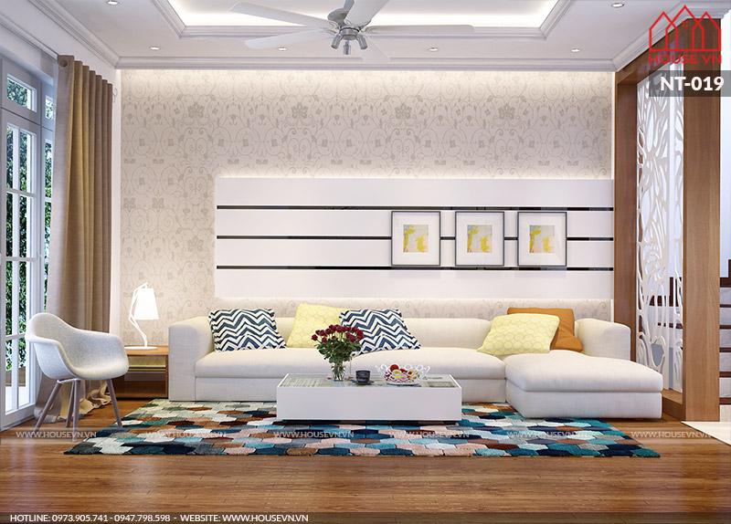 mẫu nội thất phòng khách hiện đại trẻ trung
