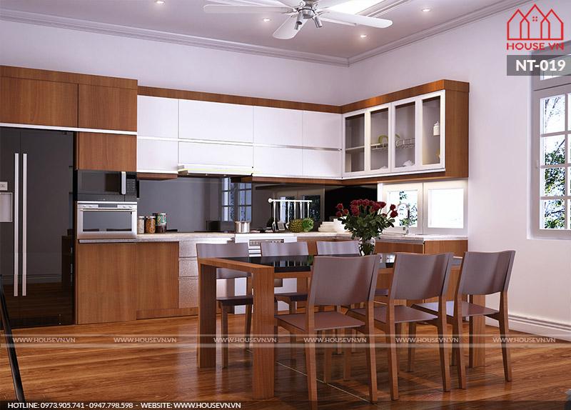 mẫu tủ bếp hiện đại giá rẻ thi công nhanh chóng tại housevn