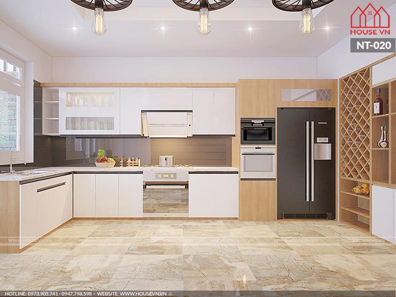 mẫu thiết kế nội thất phòng bếp nhà phố tiện nghi