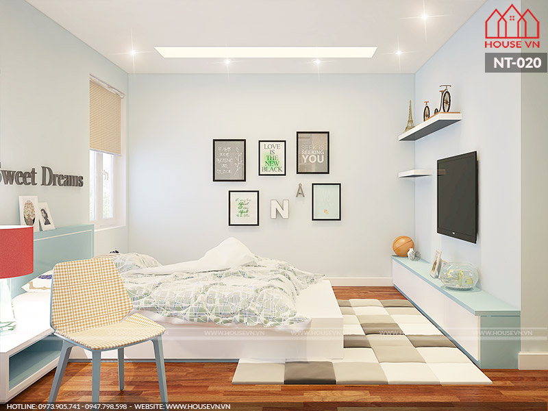 thiết kế phòng ngủ dành cho con gái đẹp và năng động