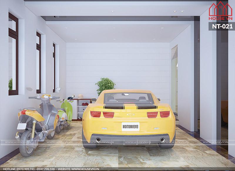 thiết kế nội thất gara ô tô biệt thự hiện đại