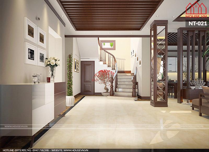 sảnh thang của tầng 1 biệt thự hiện đại