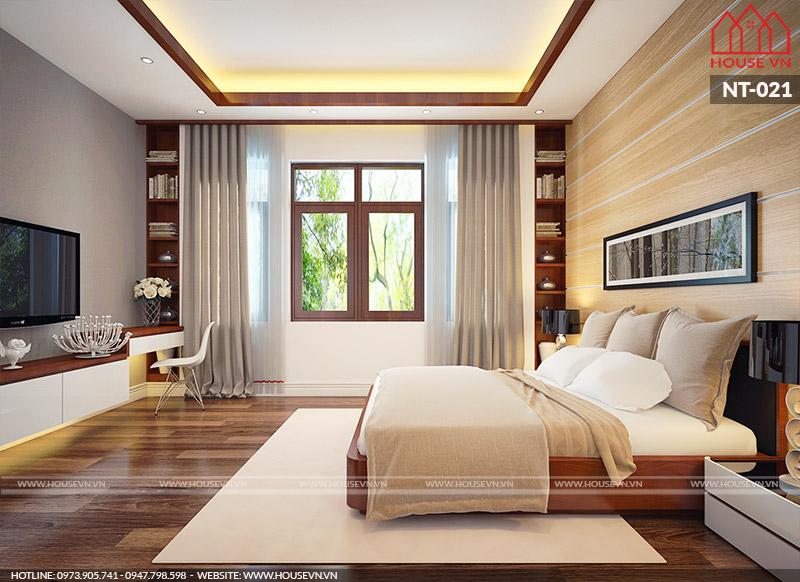 mẫu phòng ngủ biệt thự hiện đại 3 tầng