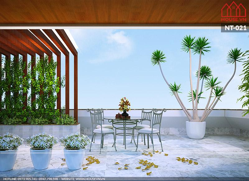thiết kế sân vườn tiểu cảnh biệt thự hiện đại