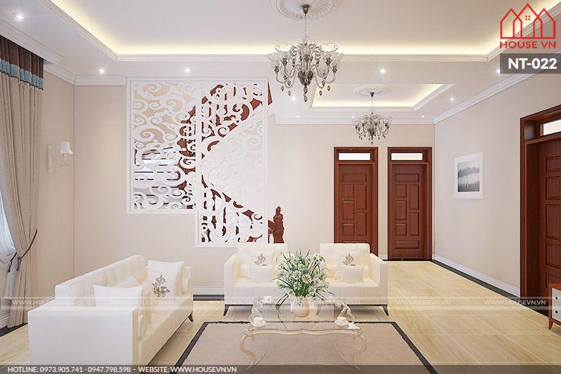 mẫu nội thất phòng khách biệt thự ấn tượng tại Hải Phòng