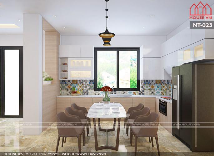 mẫu phòng bếp và phòng ăn nhỏ gọn ngăn nắp