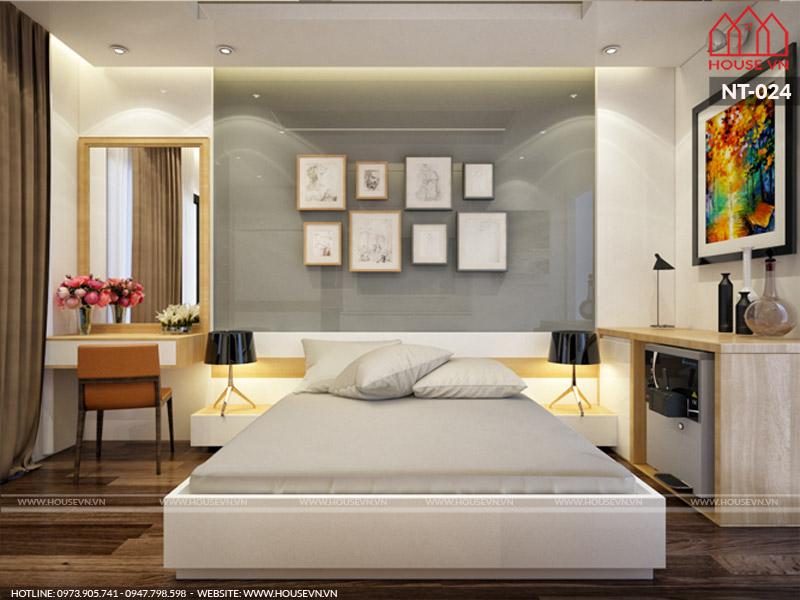 mẫu phòng ngủ làm bằng gỗ đẹp tiện nghi