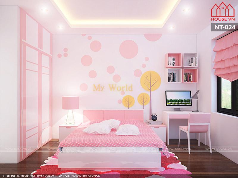 Khám phá không gian phòng ngủ của công chúa nhà CĐT với sắc hồng dễ thương được lựa chọn là màu sắc chủ đạo trong thiết kế nội thất