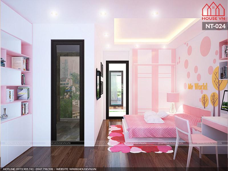 Không chỉ có thiết kế nội thất đẹp, căn phòng ngủ bé gái còn được sắp xếp nội thất ngăn nắp khoa học đảm bảo cả nhu cầu nghỉ ngơi và học tập