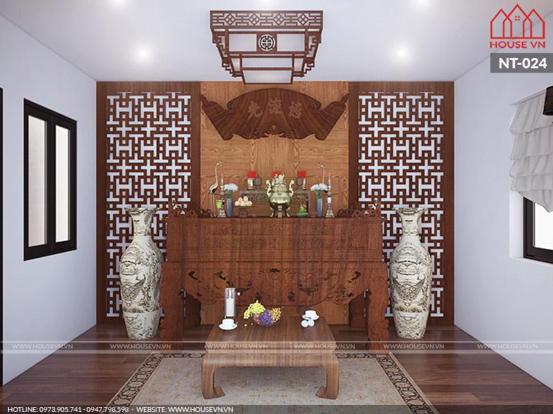 thiết kế phòng thờ nhỏ cho nhà ống hiện đại