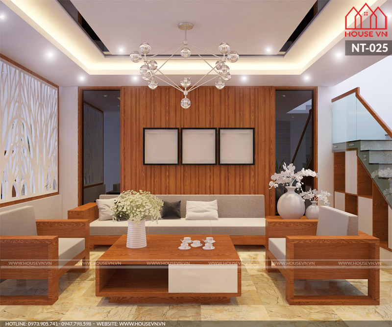 Mẫu thiết kế nội thất phòng khách nhà ống 5 tầng tại Hải Phòng hiện đại và ấm cúng được CĐT khá hài lòng