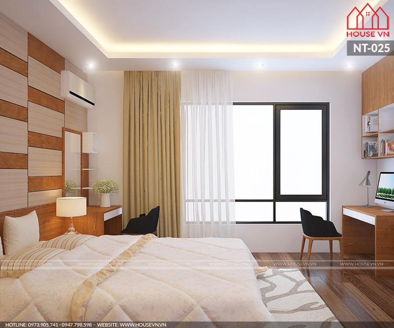 Phòng ngủ trong thiết kế nội thất nhà ống của Housevn luôn có cửa sổ đặt ở vị trí hợp lý giúp lấy gió lấy sáng tốt nhất