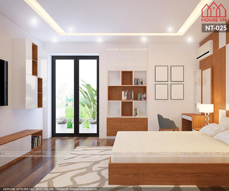 Mẫu nội thất phòng ngủ nhà ống hiện đại đẹp với góc view ấn tượng hướng ra không gian xanh thiên nhiên vô cùng thoáng đãng và tràn đầy sinh khí