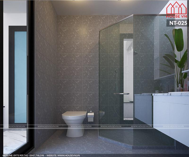 Chất liệu vệ sinh cao cấp cùng màu sắc đơn giản hiện đại tạo nên không gian phòng tắm hài hòa về mặt thẩm mỹ và công năng
