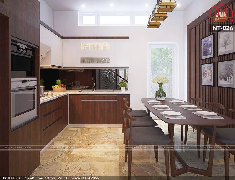 Mẫu nội thất phòng bếp ăn nhà phố ấm cúng và tiện nghi đáp ứng yêu cầu sử dụng của Chủ đầu tư