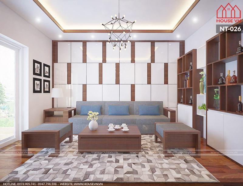 thiết kế nội thất phòng khách đẹp 18m2