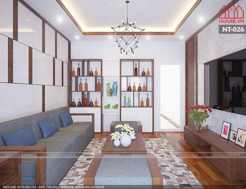 Ấn tượng bởi cách bày trí nội thất phòng khách trẻ trung hết sức khoa học và ngăn nắp trong không gian có diện tích tương đối hẹp