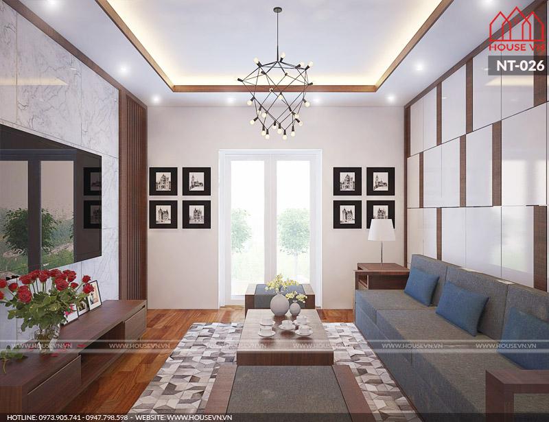 thiết kế phòng khách đẹp đơn giản cho nhà ống