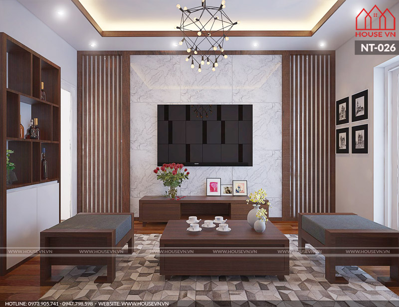 Thêm một phương án thiết kế nội thất phòng khách khác cho nhà ống cũng mang phong cách hiện đại và lịch thiệp