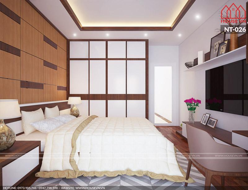 Phòng ngủ của mẫu thiết kế nội thất hiện đại tại Nam Định với phong cách màu sắcấm cúng.